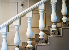 Luxury interior. Vintage classic staircase. Detail of interior Royalty Free Stock Photography