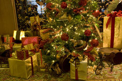 Luxury interiors christmas tree Royalty Free Stock Images