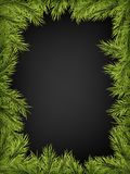 Luxury Invitation poster frame of pine, fir, spruce branches for a Christmas party on a black background. Template for stock illustration