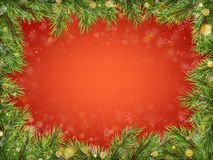Luxury Invitation poster frame of pine, fir, spruce branches for a Christmas party on a red background. Template for the royalty free illustration
