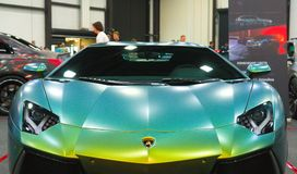 Luxury Italian supercar at the Royal Auto Show. Front View. stock photos