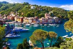 Luxury Italian vacations - beautiful Portofino in Ligurian coast royalty free stock photography