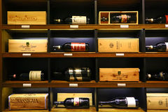 Luxury italian wines on sale in London Royalty Free Stock Photos