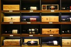 Luxury italian wines on sale in London. Luxury italian wines exposed in food departmant of Harrod's store, London Royalty Free Stock Photos