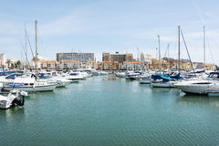 Luxury jaghts in the harbor of Villamoura Royalty Free Stock Images
