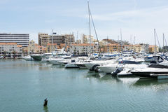Luxury jaghts in the harbor of Villamoura Royalty Free Stock Photo