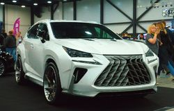 Luxury Japanese crossover at the Royal Auto Show. Luxury Japanese crossover at the Royal motor show. June 10, 2018. St. Petersburg, Russia Stock Photos