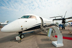 Luxury Jet Bombardier Q400 NextGen at Singapore Airshow 2014 Royalty Free Stock Photography