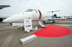 Luxury Jet Embraer Legacy 650 at Singapore Airshow 2014 Stock Image