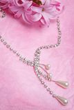 Luxury jewellery. Pearl over pink background Royalty Free Stock Images