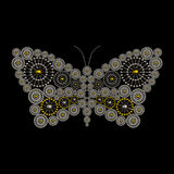 Luxury jewelry butterfly ornament design. Made from metallic seed beads isolated on black background. Beautiful jewelry design Royalty Free Stock Photos