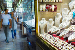 Luxury jewelry shop. Tehran market Royalty Free Stock Image