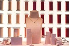 Luxury jewelry store display. Luxury jewelry window store display stock images