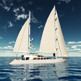 Luxury ketch. 3d render of brend new ketch sailing in the middle of the ocean Royalty Free Stock Photos