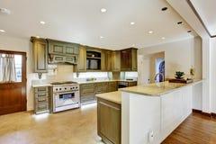 Luxury khaki kitchen interior Stock Photos