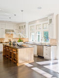 Luxury Kitchen. Ornate kitchen and dining area in luxurious new home stock photos
