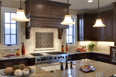 Luxury Kitchen. With granite counter tops Stock Photos