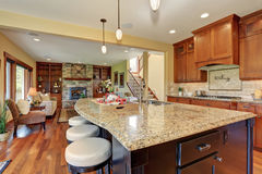 Luxury kitchen with bar style island. Stock Photography