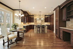 Luxury kitchen with eating area Stock Photos