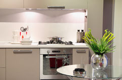 Luxury kitchen with flower decoration Royalty Free Stock Photo