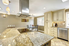 Luxury kitchen interior in light beige color Royalty Free Stock Image