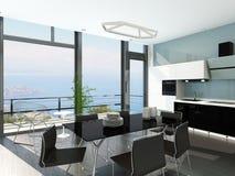 Luxury kitchen interior with modern furniture. Picture of Luxury kitchen interior with modern furniture Stock Photos