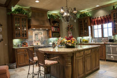 Luxury kitchen with island Royalty Free Stock Image