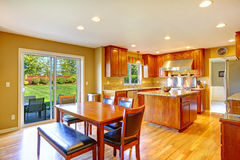 Luxury kitchen room with dining area Stock Photos