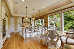 Luxury kitchen room with dining table Stock Images