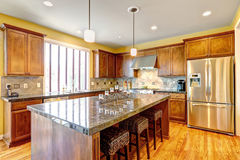 Luxury kitchen room with island Royalty Free Stock Images