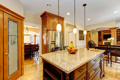 Luxury kitchen room with marble counter island stock photography