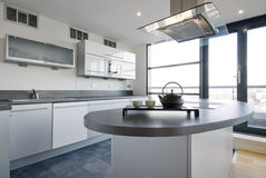 Luxury kitchen with separate work areas. And modern appliances royalty free stock image