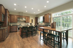 Luxury kitchen with wood cabinets Royalty Free Stock Image