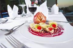 Luxury a la carte fruit salad. Closeup detail of a luxury fruit salad in an a la carte restaurant royalty free stock photo