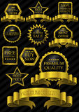 Luxury label gold frame. And black background Royalty Free Stock Image