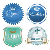 Luxury labels. Illustration of luxury labels with crown and fleur-de-lis signs Royalty Free Stock Photos