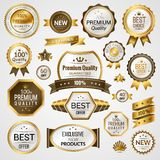Luxury labels set. Luxury golden premium quality best choice labels set isolated vector illustration Royalty Free Stock Image