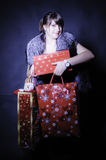 Luxury lady with christmas presents Stock Photography