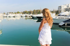 Luxury Lady enjoy at yachts Stock Photography
