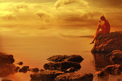 Luxury lady looking at the horizon Royalty Free Stock Images
