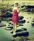 Luxury lady near the sea Royalty Free Stock Images