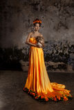 Luxury lady in silk dress Stock Image