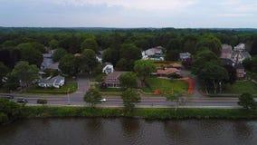 Luxury lakeside homes drone aerial 4k. Aerial drone video of luxury lakeside homes in Massachusetts USA stock footage