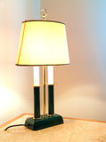 Luxury lamp. A luxury powered-on lamp on a desk stock photos