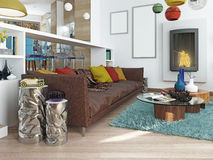 Luxury large living room in the style of kitsch. Stock Image