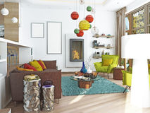Luxury large living room in the style of kitsch. Contemporary living room with large leather, brown sofa with colorful pillows and two green chairs with a vector illustration