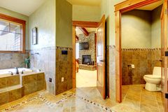 Luxury large master bathroom in mountain home. Royalty Free Stock Photography