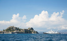 Luxury large super or mega motor yacht on anchor in corfu - gree Royalty Free Stock Photos