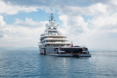 Luxury large super or mega motor yacht in the blue sea. Stock Photography