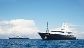 Luxury large super or mega motor yacht in the blue sea. Stock Image